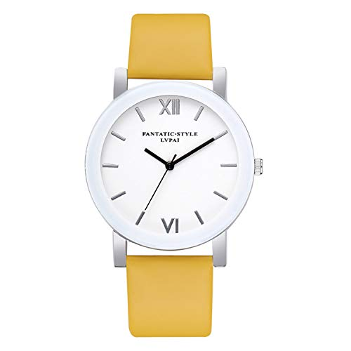 naivety Roman Numerals Dial Ladies Watch Female Leather Quartz Wrist Watch Women Watches Clock Bracelet Watch Montre Femme(Yellow,1)