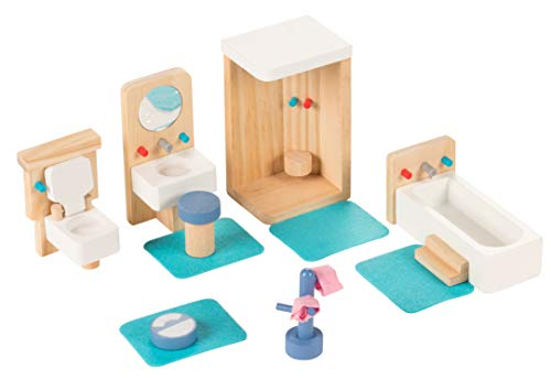 Juvale Bathroom Dollhouse Furniture Set - 14-Piece Kids Wooden Doll House Accessories, Pretend Play Miniature Playhouse Toys, with Shower, Toilet, Bathtub, Great for a Christmas, Secret Santa Gift