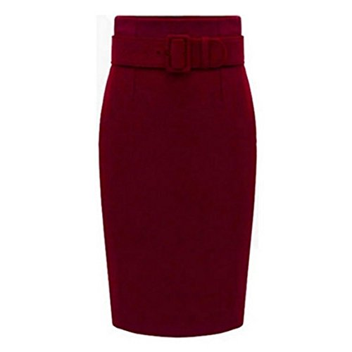 Suit Skirt Red Wool (Caracilia Petite High Waisted Classic Belted Midi Pencil Skirt Asian 3XL Red)