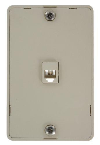 Leviton 40214-T Telephone Wall Jack, 6P4C, Screw Terminal, Light Almond