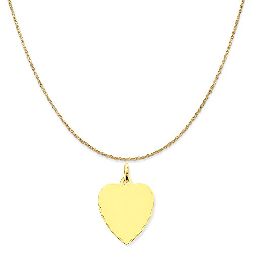 14k Yellow Gold Etched .027 Gauge Engravable Heart Disc Charm on 14K Yellow Gold Rope Necklace, 18