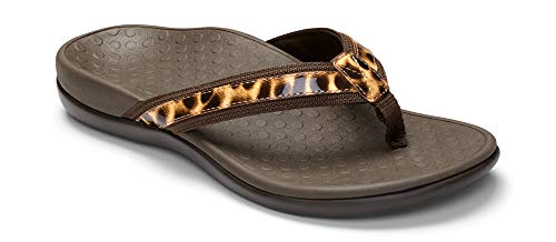Vionic Women's Tide II Toe Post Sandal - Ladies Flip Flop Concealed Orthotic Support Brown Leopard 10 M US