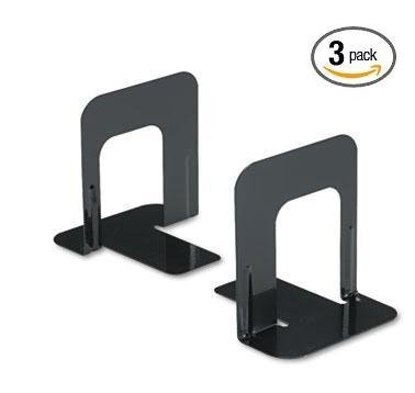 Innovera Universal Economy Bookends, Nonskid, 4 3/4 x 5 1/4 x 5 Inches, Heavy Gauge Steel, Black (54055) 3 Pack (6 (Black Bookend)