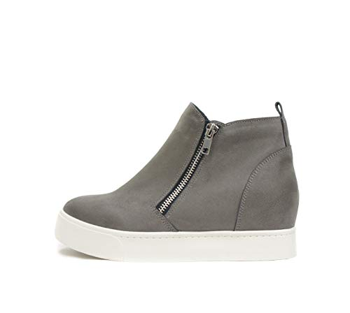 SODA Taylor Hidden Fahsion Wedge Sneaker Shoes Side Zipper (8, Grey)