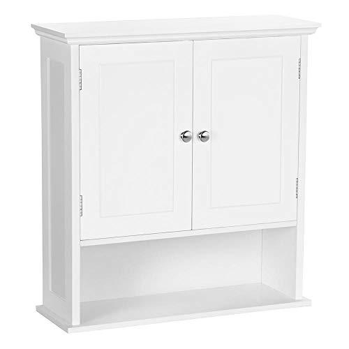 Yaheetech Bathroom Wall Mount Storage Organizer, Medicine Cabinet with Adjustable Shelf Double Door Over The Toilet, White