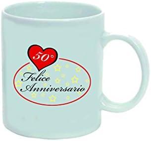 Anniversario Matrimonio Amazon.Tazza 8 X 10 Cm Ceramica Con Scritta 50 Anni Anniversario