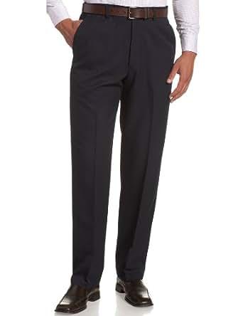 Haggar Mens Cool 18 Flat Front Pant, Navy, 30-29