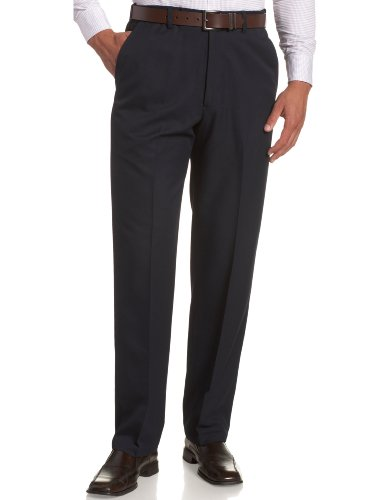 Haggar Men's Cool 18 Hidden Comfort Waist Plain Front Pant,Navy,38x34