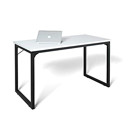 "Coleshome Computer Desk 39"", Modern Simple Style Desk for Home Office, Sturdy Writing Desk,White - ✅ [Computer Desk Coleshome Desk Computer Table Home Office Desk ]- With metal legs and adjustable leg pads, made the desks keep stable even on uneven floor ✅ [Modern Design with Stability] A sturdy desk designed in elegance.Thick metal frames & Extra metal brackets ensure stability. Desktop made of MDF(Wooden Medium Density Fibreboard), waterproof and anti scratch, very easy to clean. Desk frame is made of heavy duty powder coated steel which ensures stability and durability. High thickness strong enough to support heavy duty parcels. ✅ [Easy to Assemble] A detailed instruction manual and a screwdriver are provided. - writing-desks, living-room-furniture, living-room - 31KiYW81NwL. SS400  -"