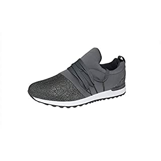 ROXY ROSE Slip On Women Sneaker Breathable Cosy Sports Shoes with Shoelaces (6 B(M) US, Silver)
