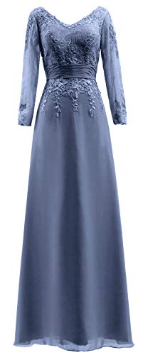 Gown The Steel of Long Mother Lace Women Dress Neck Sleeves MACloth Blue V Bride Evening TqZY7W