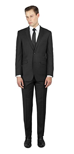 Alain Dupetit 100% Wool Men's Two Button Suit 40S Dark Charcoal Grey (Wool Dark Charcoal)