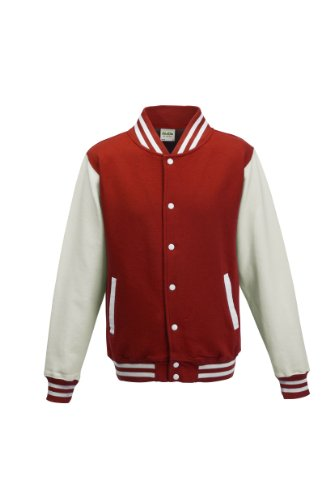 Awdis Unisex Varsity Jacket (M) (Fire Red/White) -