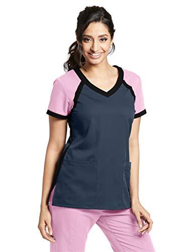 Grey's Anatomy Active 41435 Color Block V-Neck Top Steel/Lilac Pearl/Black XXS