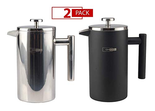 Omnihil 2-PACK Stainless Steel French Press Coffee Maker Stainless Steel BLACK Matte – Size 1000ML