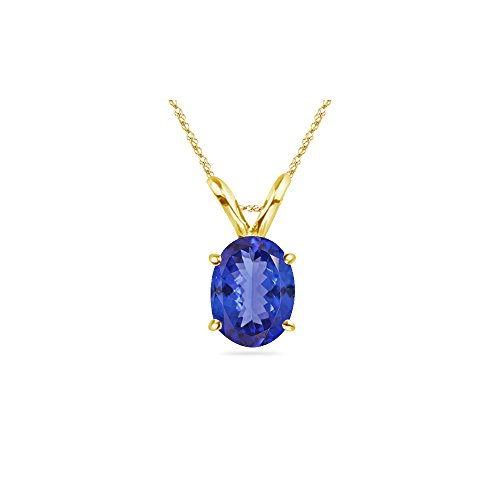 1.00-1.52 Cts of 8x6 mm AA Oval Tanzanite Solitaire Pendant in 14K Yellow Gold