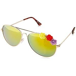 MLC Eyewear Women's Agalwood SF1956-GDYW Aviator Sunglasses, Gold, 55 mm