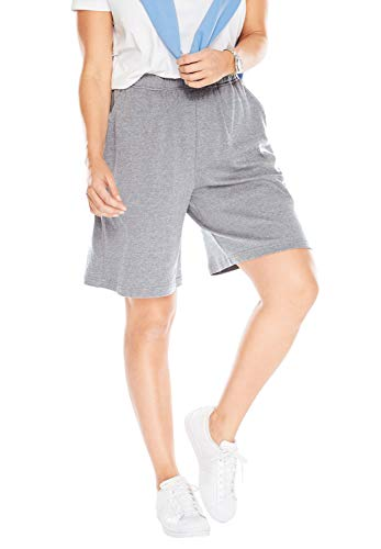 Woman Within Women's Plus Size 7-Day Knit Short - Medium Heather Grey, 6X ()