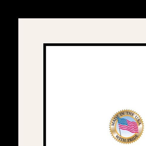 20x30 / 20 x 30 Picture Frame Satin Black .. 1.25'' wide with a 2'' double mat