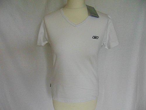 ladies-womens Reebok T-Shirt–Weiß Top Freizeit Sport Größe 12BNWT