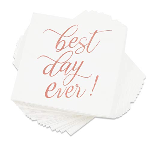 """Blue Panda""""Best Day Ever"""" Cocktail Napkins (50 Pack) 5 x 5 Inches, Rose Gold"""