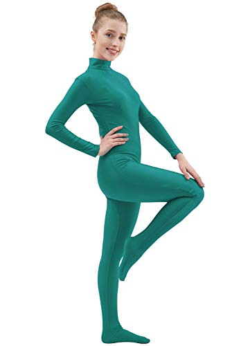 Ensnovo Womens Lycra Spandex Zentai Suits One Piece Footed Unitard Turquoise,S ()