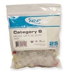 - ICC IC107L6CWH - 25PK Cat6 Jack - White