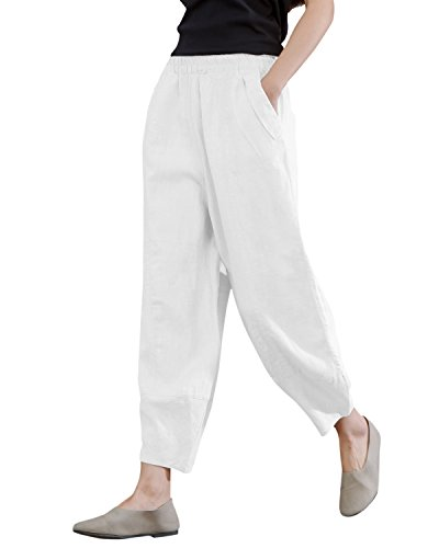 IXIMO Women's Linen Pants Lantern Tapered Elastic Waist Cropped Pants Trousers with Pockets Casual Capri Pants (White, S)