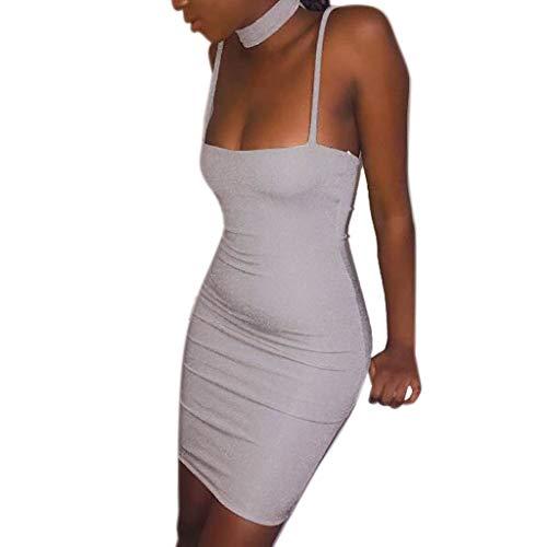 Sexy Sleeveless Casual Mini Dress Women Fashion Ladies Bright Silk Zipper Silver