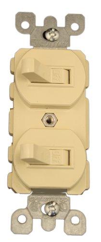 Leviton 5334-I 20 Amp, 120/277 Volt, Duplex Style Single-Pole/Single-Pole AC Combination Switch, Commercial Grade, Ivory