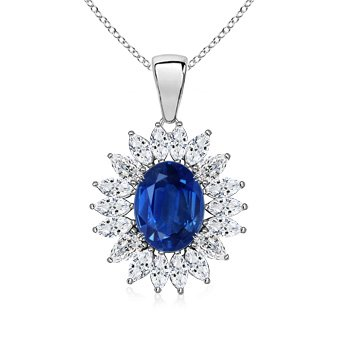 Angara Yellow Gold Womens Natural Sapphire Halo and Pendant LnAyXRCW1