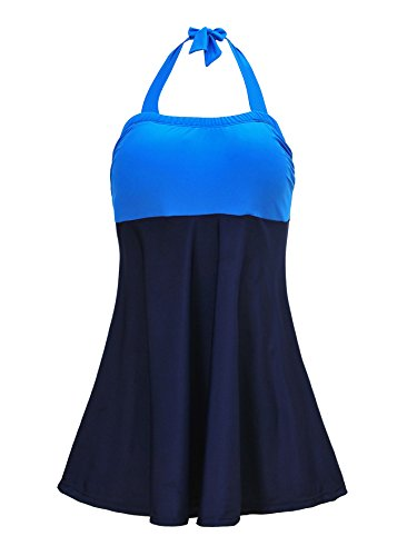 American Trends Womens Sporty Boyleg Swimdress Plus Size Vintage Halter One Piece Swimsuit Long Torso Skirted Bathing Suit