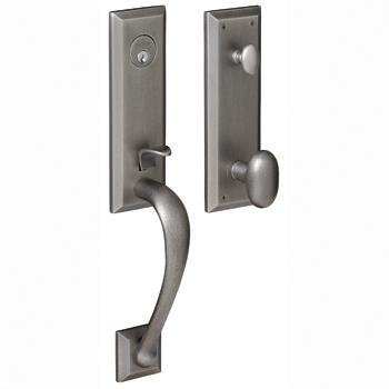 Baldwin 85352.412.RENT Cody 3/4-Inch Escutcheon Handleset Emergency Egress with Beavertail Lever, Distressed Venetian Bronze