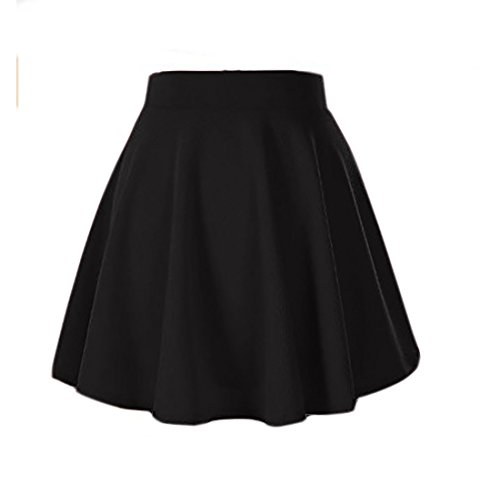 Moxeay Girls' Basic Versatile Stretch Waist Flared Plain Pleated Casual Skater Skirt (S, Black)