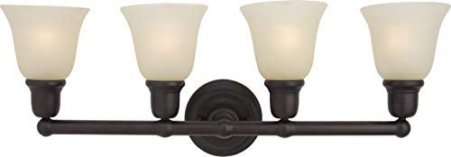 - Maxim 11089SVOI Bel Air 4-Light Bath Vanity, Oil Rubbed Bronze Finish, Soft Vanilla Glass, MB Incandescent Incandescent Bulb , 12W Max., Dry Safety Rating, 3000K Color Temp, Opal Acrylic Shade Material, 1200 Rated Lumens