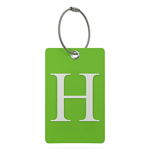 Luggage Tag Initial – Fully Bendable Tag w/ Stainless Steel Loop (Letter H)