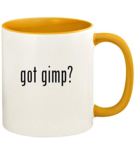 got gimp? - 11oz Ceramic Colored Handle and Inside Coffee Mug Cup, Golden Yellow