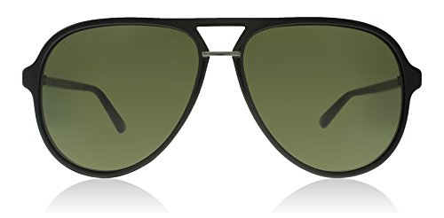 Gucci 0015S 001 Black 0015S Aviator Sunglasses Lens Category 3 Size - Mens Black Sunglasses Gucci