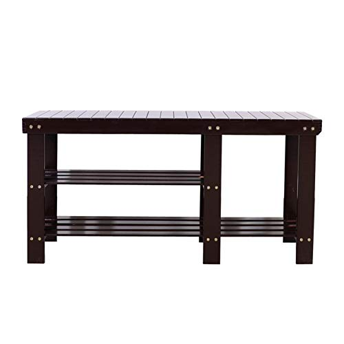 Rainrain27 90cm Strip Type Bamboo Stool Shoe Rack with Boots Compartment Coffee ()