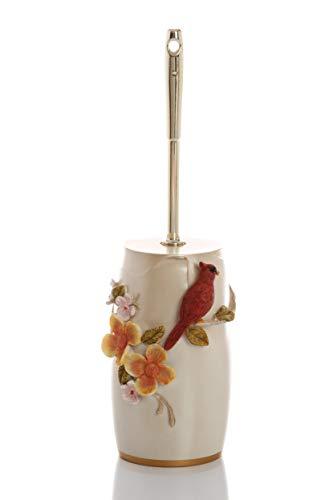 Upstate Home Design Bird Bathroom Accessory Set (Toilet Brush) Ceramic Hideaway Toilet Bowl Brush and Holder (Ceramic Toilet Decorative Holder Brush)