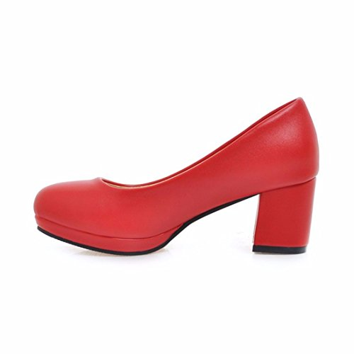 Ankle Heels Pure Size Color Heels Women's Table high Big Gules Pump Toe Strap Closed Women's Professional Waterproof Shoes RFF Shoes qPSxZtS
