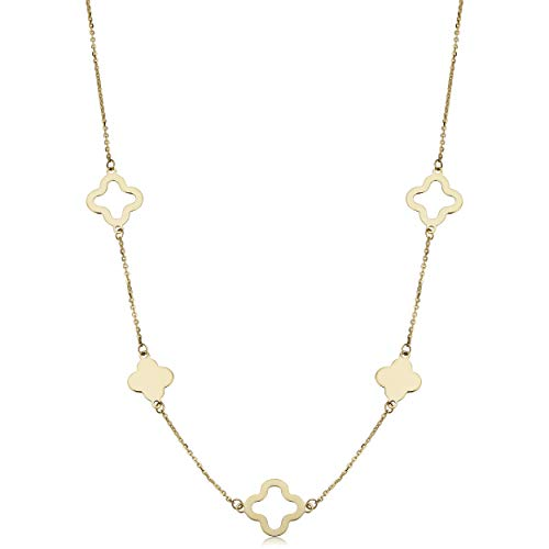 (Kooljewelry 14k Yellow Gold Clover Station Necklace (18 inch))