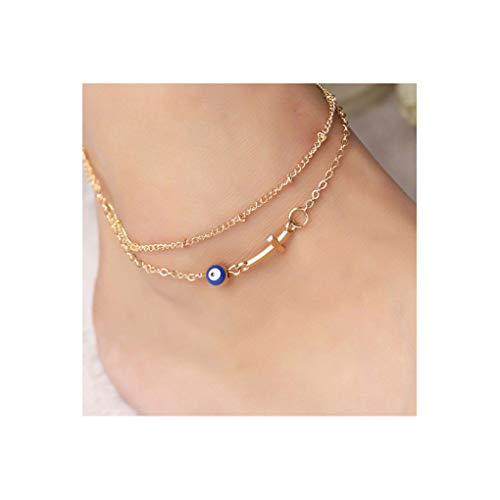 Tgirls Bohemian Cross Cat Eye Anklet Tassel Barefoot Sandals Ladies Chain Jewelry Women and Girls