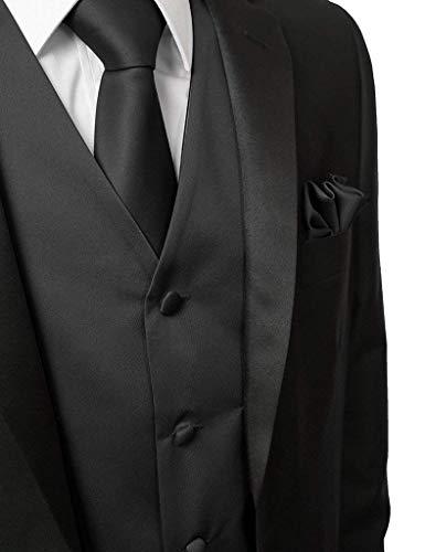 5 con Size L Collo E Loop Smoking Suit Slim Elegante Vest V Fit Hanky Uomo Schwarz Vintage Gilet Knoepproof color Da Tie qtvz1OR
