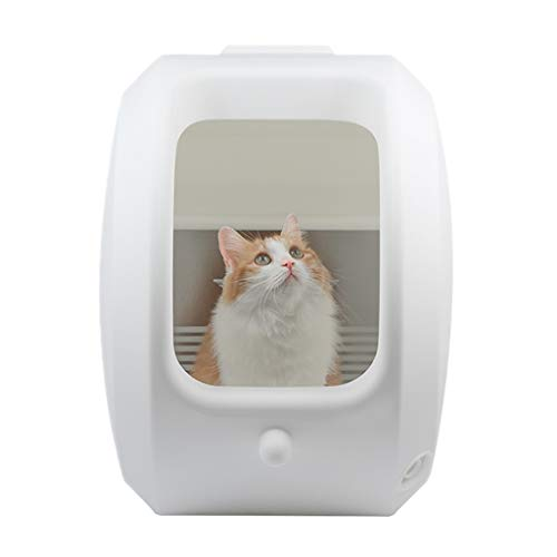 (Jlxl Self Cleaning Cat Litter Box, Hooded Pet Large Toilet Tray Cover Sand Trash Can Scroll Stainless Steel Filter Plate Easy Clean (Color : A Ordinary))