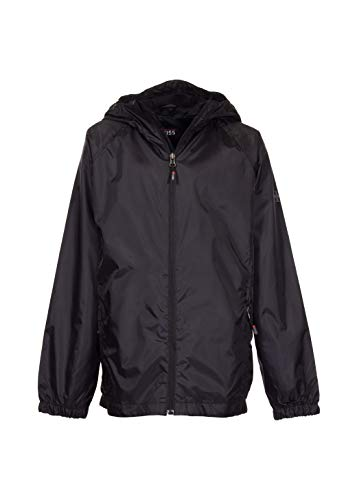Swiss Alps Boys Wind Resistant Lightweight Rain Jacket, Black, 10/12