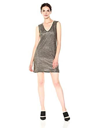 French Connection Women's Leah Metallic Jersey Dress, Gold, 0