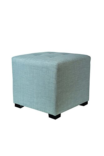 MJL Furniture Designs Merton Designer Square 4 Button Tufted Upholstered Ottoman, Sea Mist Green by MJL Furniture Designs