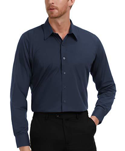 (PAUL JONES Mens Shirt Slim Fit Dress Shirt for Summer Long Sleeves Navy Blue 2XL)