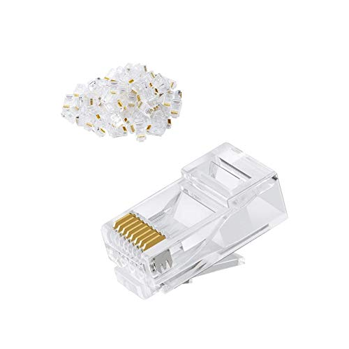 Cat6 RJ45 Ends, CableIntroduction 100-PACK Cat6 Connector, Cat6 / Cat5e RJ45 Connector, Ethernet Cable Crimp Connectors UTP Network Plug for Solid Wire and Standard Cable, Transparent